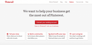 Convert your existing account into a business Pinterest account step 1