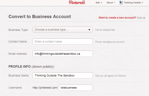 Convert your existing account into a business Pinterest account step 2