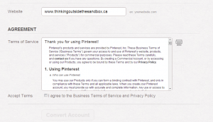 Convert your existing account into a business Pinterest account step 4