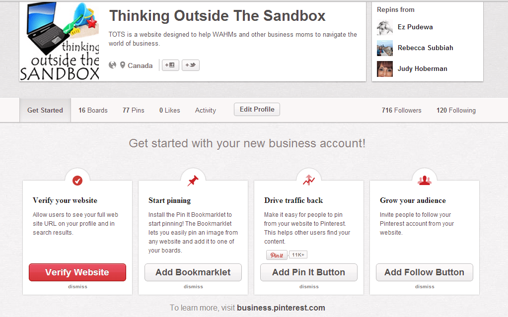 Thinking Outside The Sandbox: Business 5 How to Change your Pinterest Account to a Business Account All Posts Social Media TOTS Business  Pinterest how to business