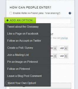 add giveaway option drop down menu
