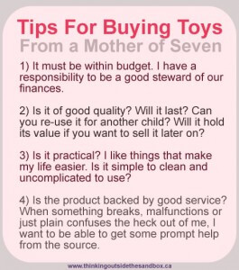 Thinking Outside The Sandbox: Business toytips-265x300 Being a Mother Makes Me Shop Differently All Posts  mommyhood how to