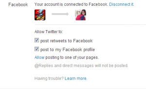 Fb permissions and connect twitter to facebook