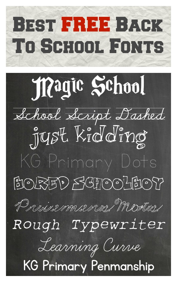 Best FREE Back To School Fonts | Thinking Outside The