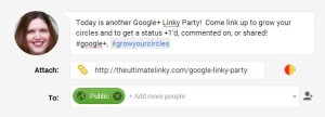Put the link in the attachment space.  Google+ Will think for a minute.