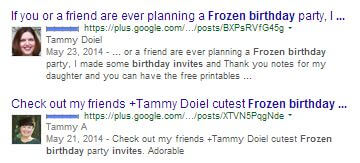 frozen Google+ search