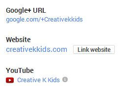 When I go over to my About section on my Creative K Kids Google+ page, now you can see my YouTube link.  It's just there!