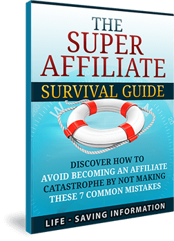 "Free eBook download – The Super Affiliate Survival Guide - How Regular Affiliates Can Change The Way They Think To Relearn The Fundamentals Of Affiliate Marketing & Increase Profits Dramatically! Listen up, because I've got something important to share with you that can make or break your next advertising campaign. Very soon you will gain instant access to my latest free info-series that will introduce you to a revealing look at super affiliates and exactly how they avoid marketing disaster! Plus you will receive the bonus report, ""The Super Affiliate Survival Guide"", which shares 7 common mistakes made by affiliates: How to avoid finding out things the hard way, and marketing smarter so your campaigns don't sink in quick sand. Precisely what to look for in products that will sell like hot cakes, and not shrivel up and die from lack of attention. Proven methods for making higher commissions, and not wasting your time on low-paying products that won't sell. The one thing you must do to take advantage of the traffic you generate, and not give it all away to the product owners to build their profits, not yours. How not to waste the potential of your hard earned list by not taking advantage of the power at your fingertips, resulting in a dead-end business. Why researching merchants can make a huge difference to the life of your business, and how ignoring this vital point can kill you very quickly. When missing the boat leaves you on a sinking ship instead of streaking ahead of the competition. Why taking off the rose tinted glasses and looking at the whole picture will keep you on top of analytics, and aware of potential downfalls. How to survive the competition and stay ahead of the game successfully. And Much More... Successfully shorten the Curve on becoming successful earning with this Stategic Marketing Blueprint – Affiliate marketing 5.0 - Click Here to Download."
